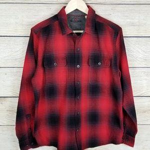 Woolrich red buffalo plaid cotton shirt black